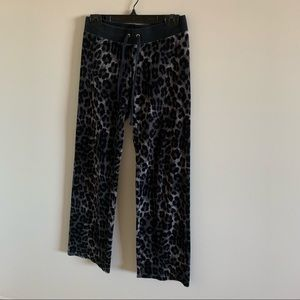 Juicy Couture Black Velour Animal Print Track Pant